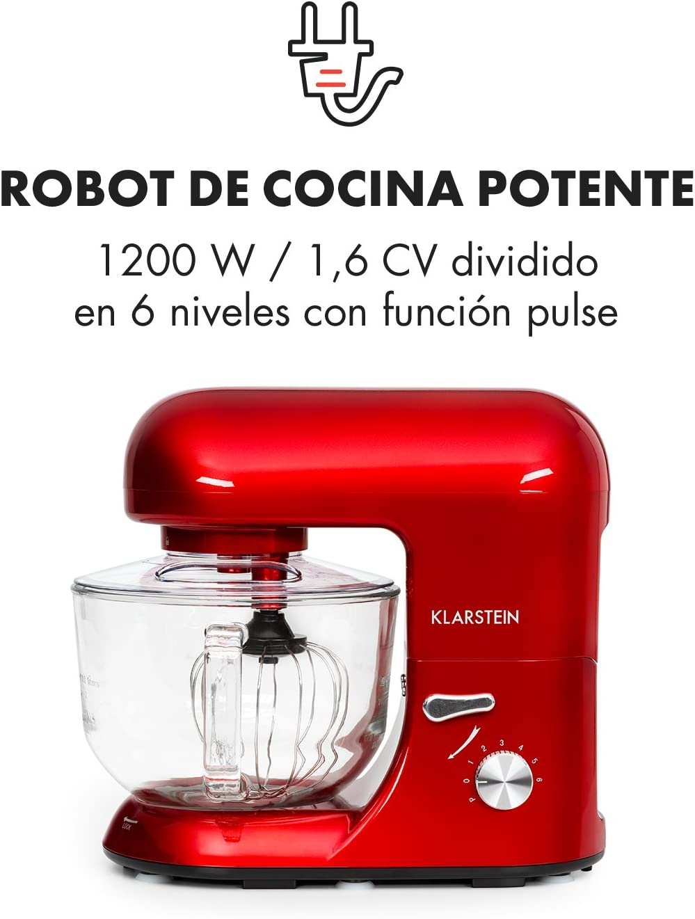 Klarstein - Bella Rossa 2G, Robot de Cocina, Mezcla, Amasadora, Batidora, 1200W, 2,5 a 5,2 L, Bol Cristal, 6 velocidades, Función Pulso, Sistema de Mezcla planetaria, Gancho amasar, Rojo: Amazon.es: Hogar