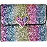 Rmcxly Multicolor Metal Sequins Small Wallet PU Leather Patchwork Hasp Mini Wallet for Women and Purses Money Wallet Card Bag Coins Bag (Heart button), Large