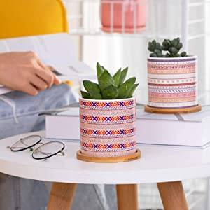 Virgin-Pot Cute Mandalas Style Ceramic Succulent Plant Pots with Bamboo Tray for Home Garden Office Decoration Plant Pots Set of 4 (Color As Shown, Plants Not Included) -2