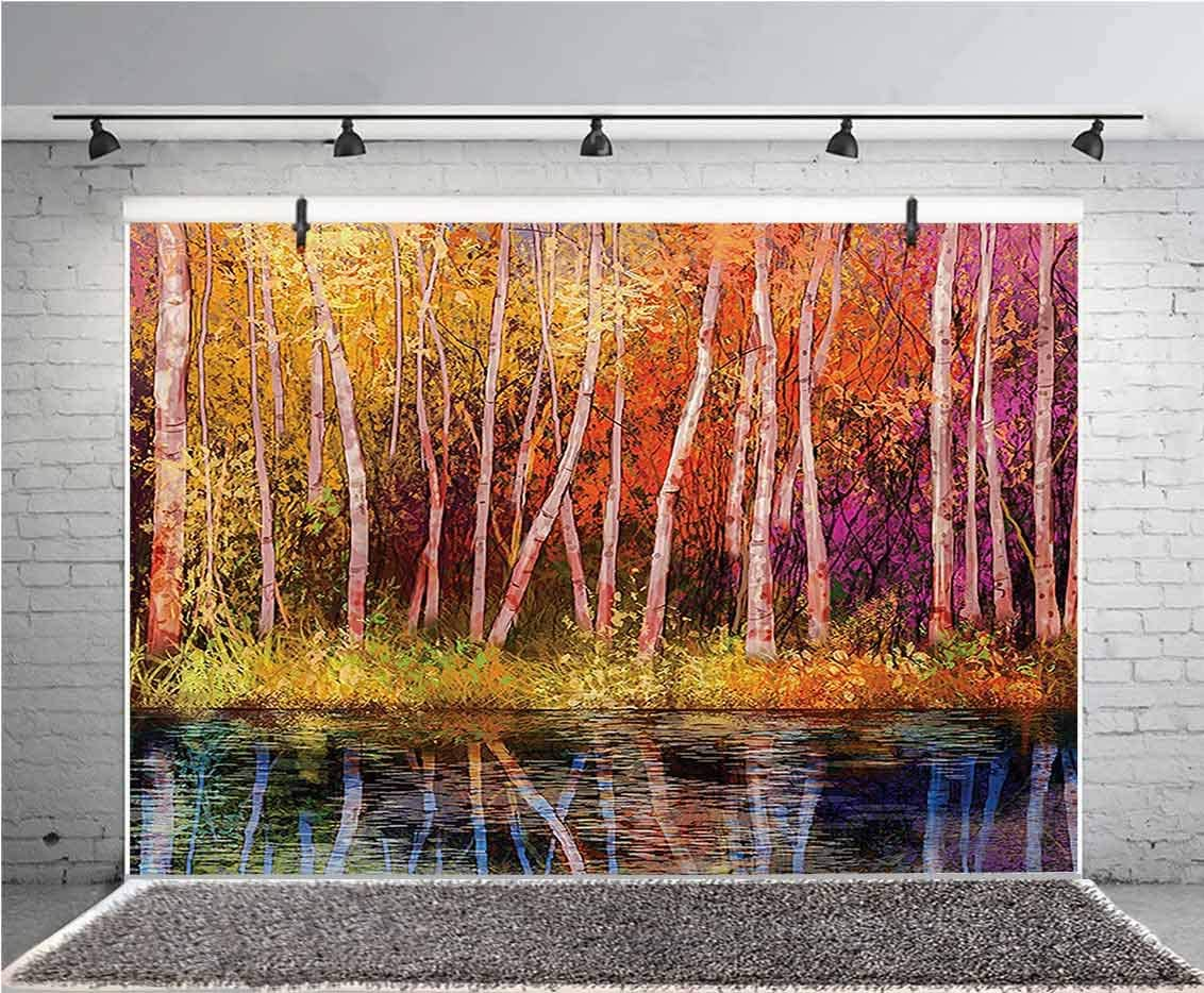 Flower 12x10 FT Vinyl Photography Backdrop,Fall Trees Along with Lake Fall in Jungle Natural Paradise Best Places in Earth Background for Photo Backdrop Baby Newborn Photo Studio Props