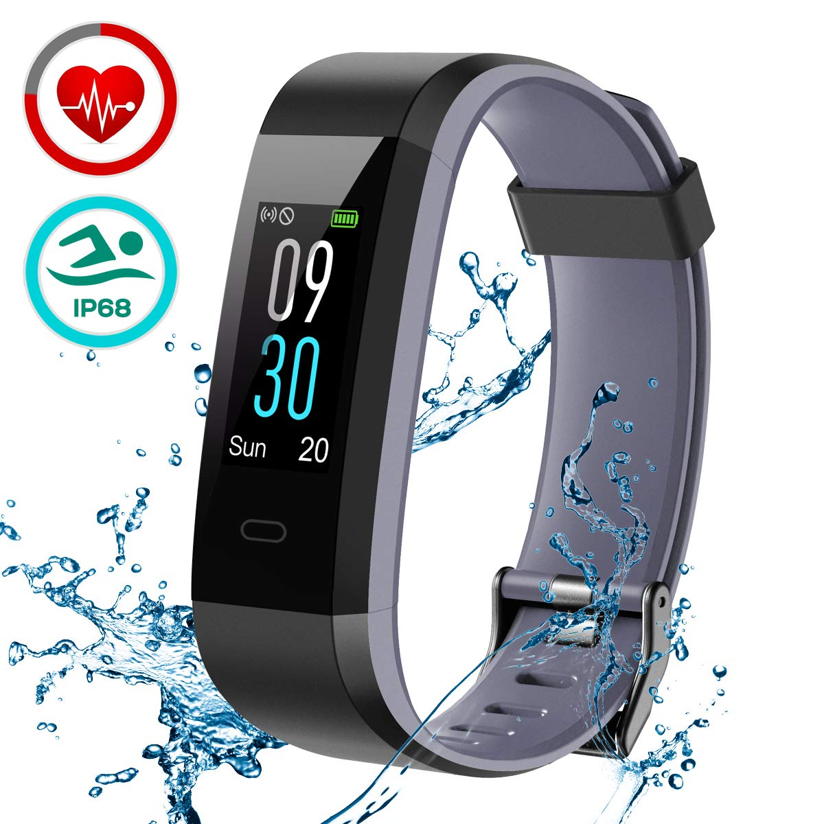 LATEC Pulsera de Actividad, Pulsera Inteligente Pantalla Color Reloj con Pulsómetro Impermeable IP68 Monitor de