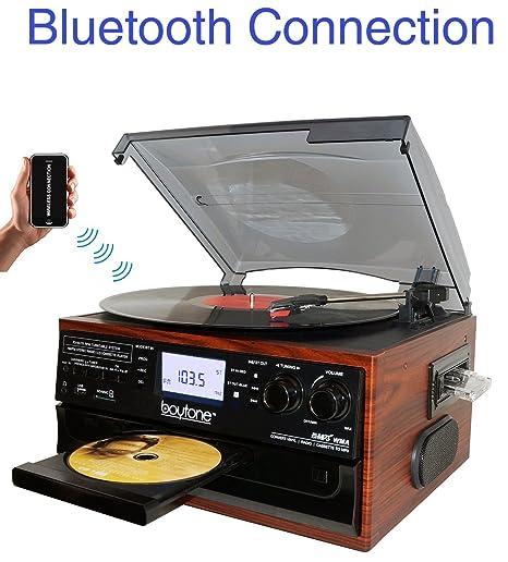 Boytone BT-22M, Tocadiscos con Bluetooth, Radio Am/FM, Cassette ...