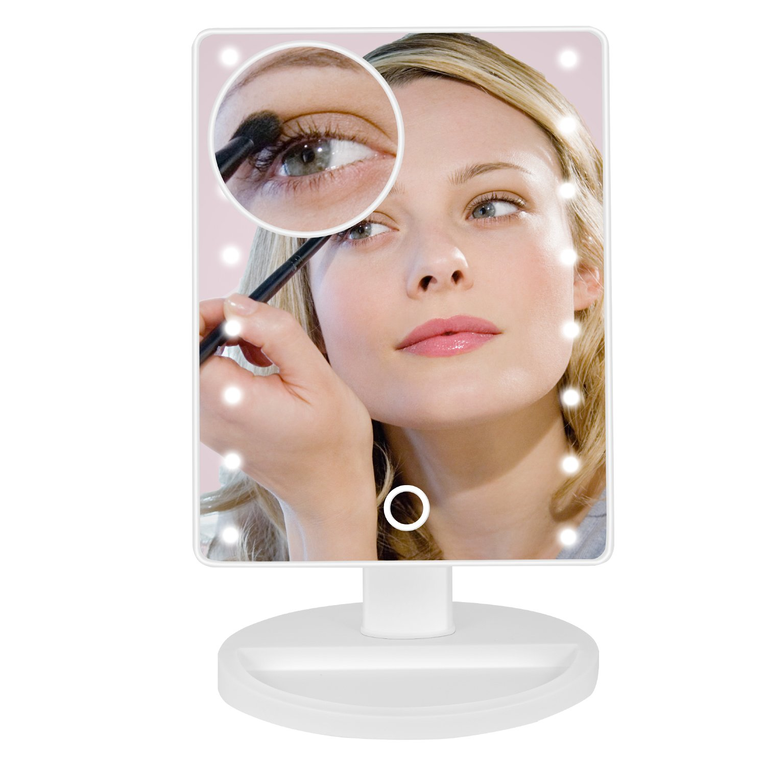 Lighted Makeup Mirror, BEW Vanity Mirror with 16 LED lights & Touch Screen Dimmable and Detachable 10x Magnifying Spot Mirror Dual Power Supply Countertop Cosmetic Mirror (White)