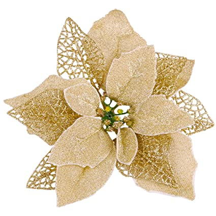 12 Self Adhesive Sparkly Poinsettias for Christmas Crafts