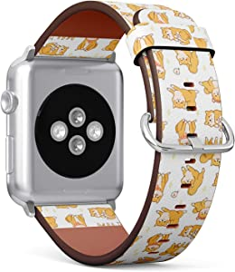 Compatible with Apple Watch (Small 38mm/40mm) Series 1,2,3,4 - Leather Band Bracelet Strap Wristband Replacement - Kawaii Shiba Inu Dogs Various