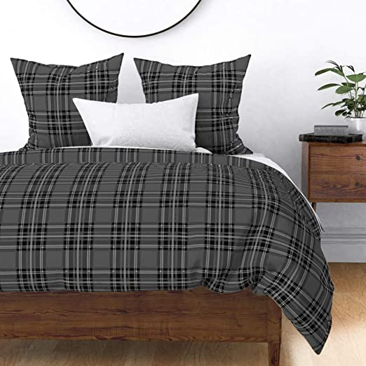 Kyle Schuneman Grant King Duvet Cover in Grey Charcoal//Ivory Plaid