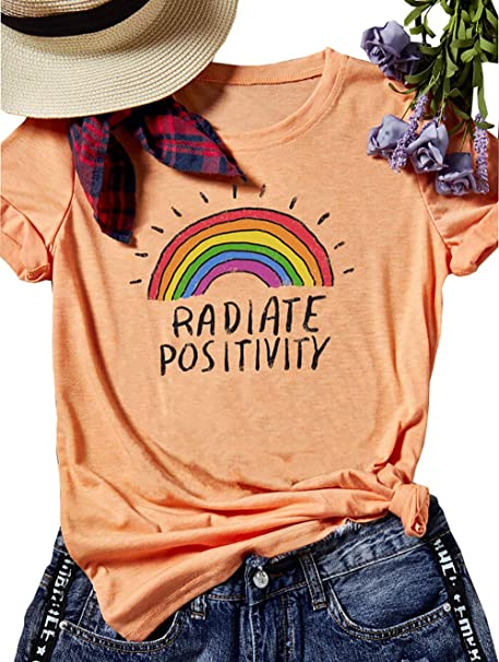 0e0651195d2 Womens Radiate Positivity Rainbow T-Shirt Funny Letters Print Tops Graphic  Tees