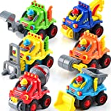 FLY2SKY 6 Pack Toy Trucks for Toddlers 1 2 3 Years Old Toddler Toys for 1 Year Old Boys Push and Go Construction…
