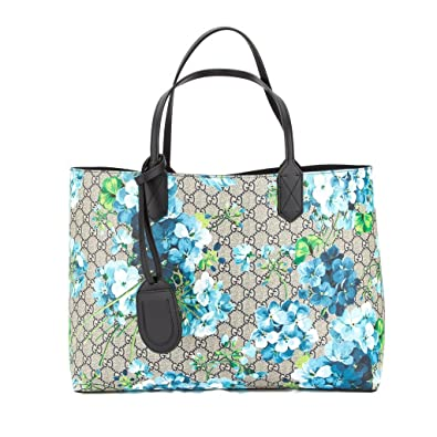 c83919639337 Gucci Blossoms Blue Navy Reversible GG Blooms tote Leather Handbag Bag New