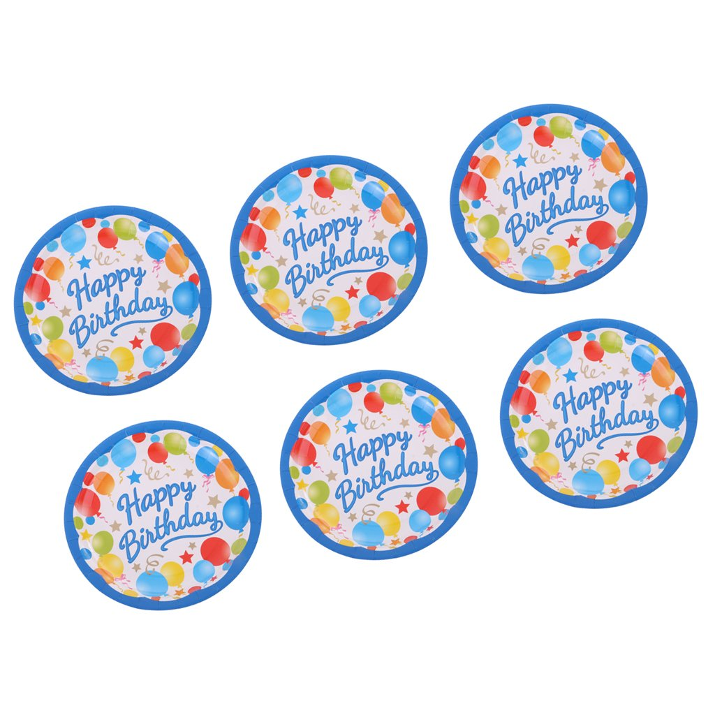Jili Online Colorful Balloon Star Pattern Girls Boys Birthday 6pcs PAPER PLATES 18cm Round Plates Party Tableware Decorations