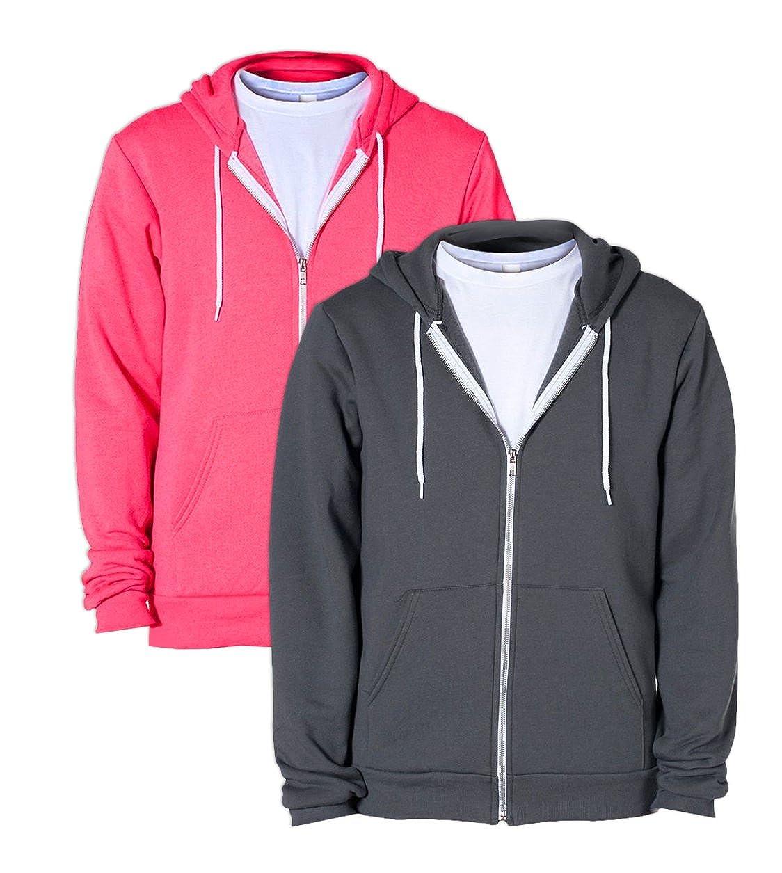American Apparel F497 Unisex Flex Fleece Zip Hoodie XS 1 Asphalt 1 Deep Pink
