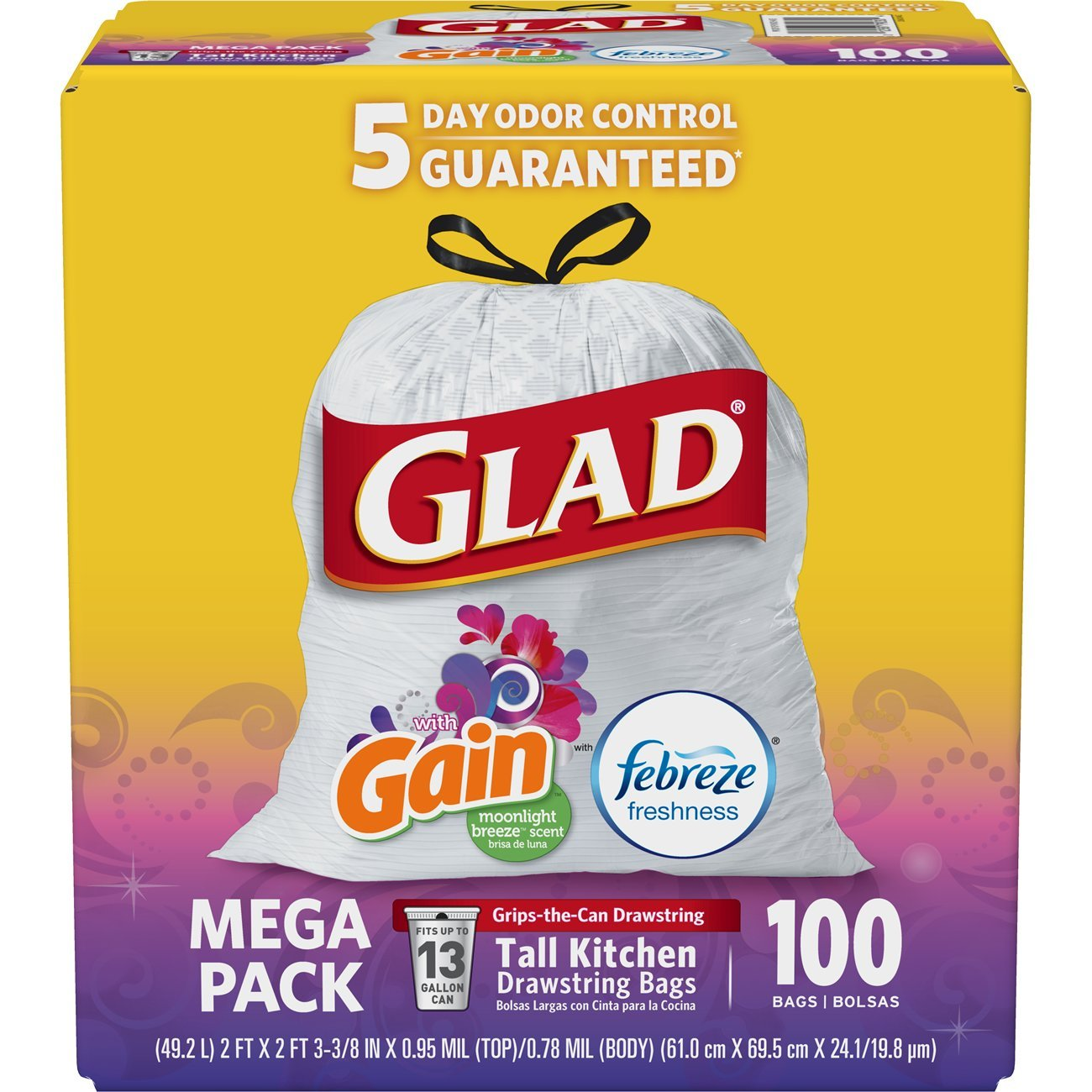 Glad OdorShield Tall Kitchen Drawstring Trash Bags - Gain Original with Febreze Freshness - 13 Gallon - 100 Count SYNCHKG125727