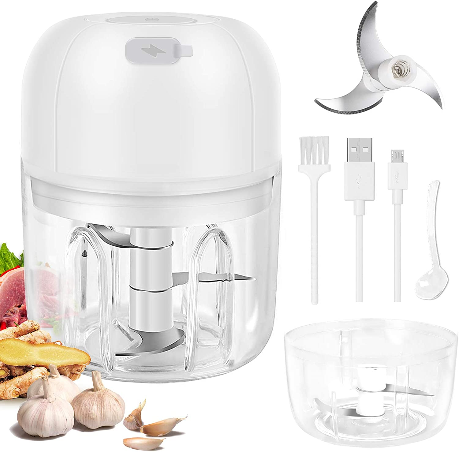 Electric Garlic Grinder, Wireless Portable Food Processor with USB Charging, 250 ml + 100 ml Waterproof Double Cup Garlic Masher, Mini Food Grinder for Garlic Chili Onion Pepper Vegetable