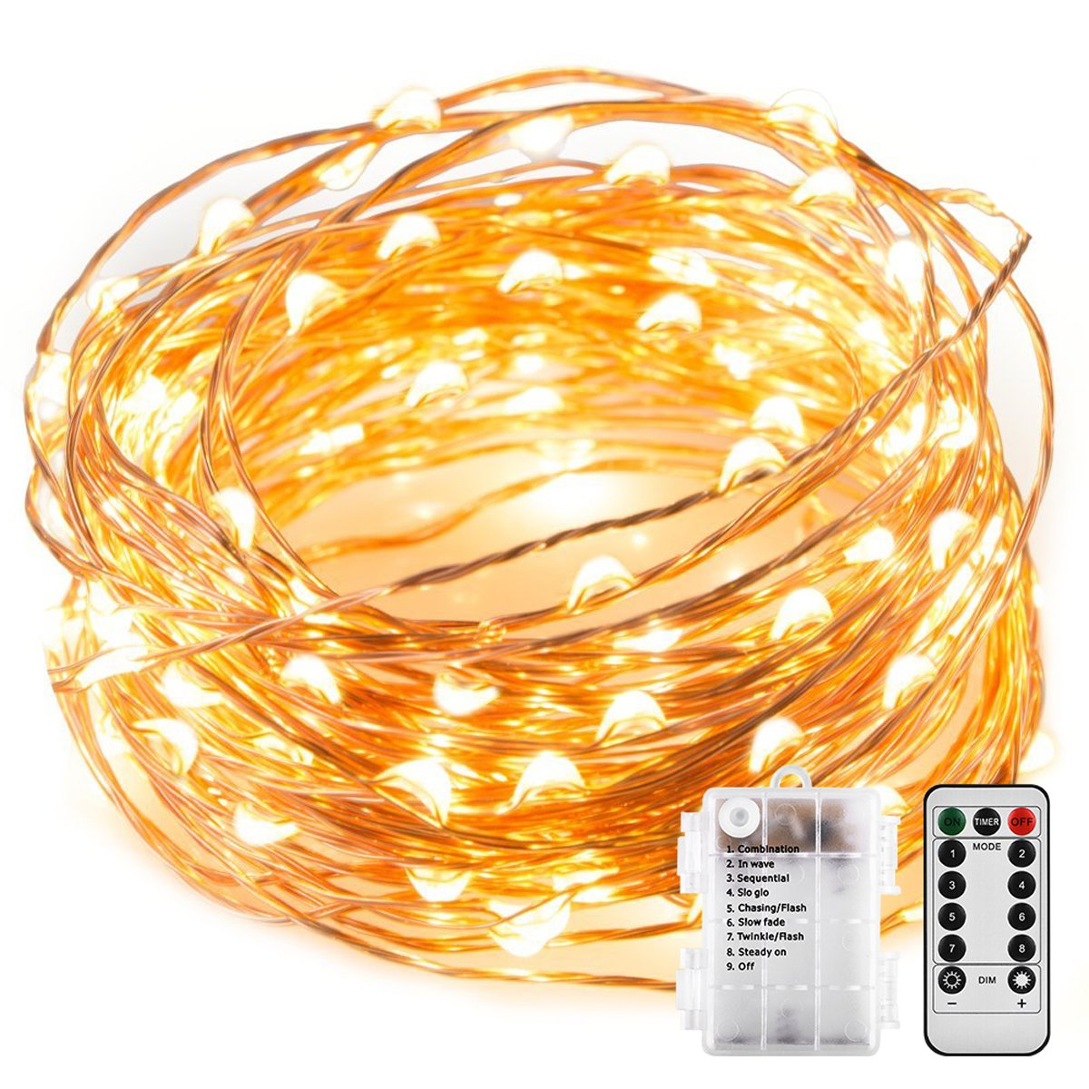 String Lights, Sanniu Battery String Lights Waterproof Design 16ft 50 LED,String Lights Battery with Remote Control 8 Modes Warm White by Sanniu