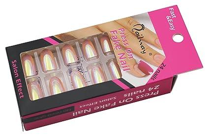 nailway prensa sobre falso uñas sirena cromo uñas holográfica pigmento falsas uñas con autoadhesivo pre-