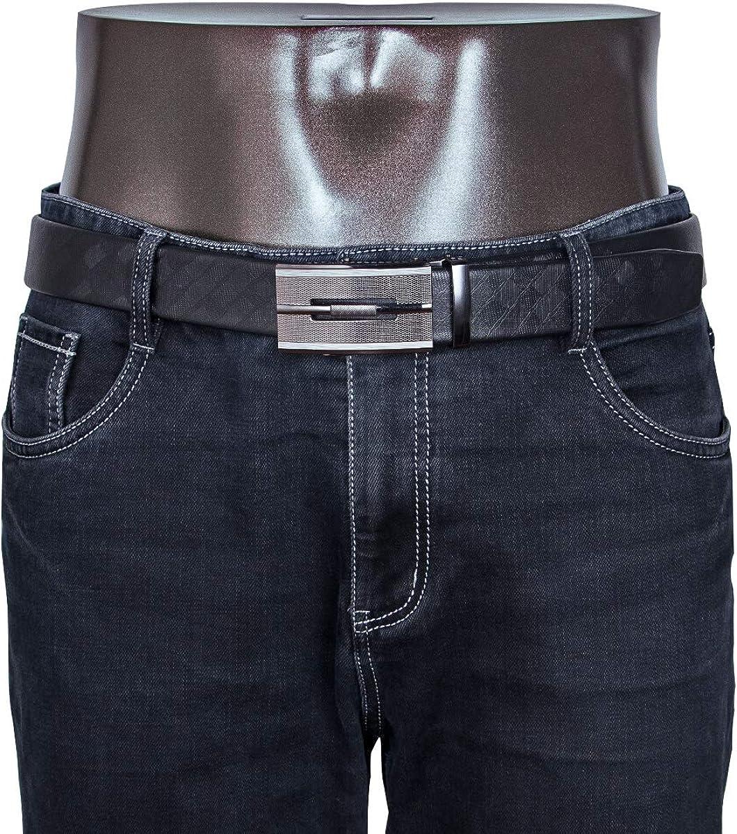 Barry.Wang Cinturones de dise/ño para hombres sin n/íquel hebilla autom/ática de aleaci/ón de cuero genuino correa formal ajustable
