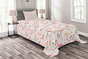 Ambesonne Flamingo Bedspread, Flamingos in Vintage Style Illustration Love and Romantic Animals Artwork Print, Decorative Quilted 2 Piece Coverlet Set with Pillow Sham, Twin Size, Beige Pink