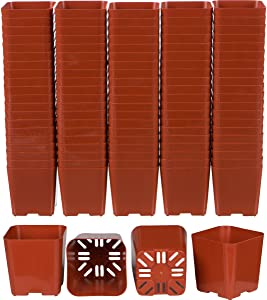 WH Garden Supply Pack of 2 Inch Plastic Flower Pots for Seedlings, or Succulents (100 Pots, Terracotta)