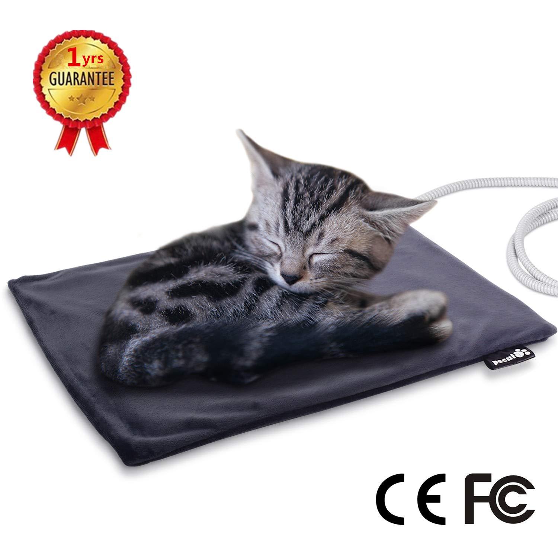 Manta Eléctrica para Gatos 20W Almohadilla de Calefacción para Perros y Gatos con Temperatura Constante Automática 38-40 Grados Calentador Cama con Cubierta ...