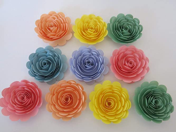 Amazon Large Pastel Rainbow Roses Set Of 10 Paper Flowers For