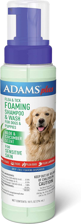 Adams Plus Flea & Tick Foaming Shampoo & Wash for Dogs & Puppies 10 oz