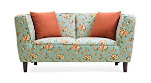 Urban Ladder Janet Two Seater Loveseat (Vintage Floral Teal)
