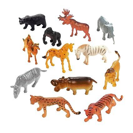 Amazon Com 12 Pc Plastic Safari Animals Toys Games