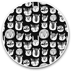 Vinyl Stickers (Set of 2) 15cm Black & White - Woodland Animals Fox Badger Laptop Luggage Tablet #35621