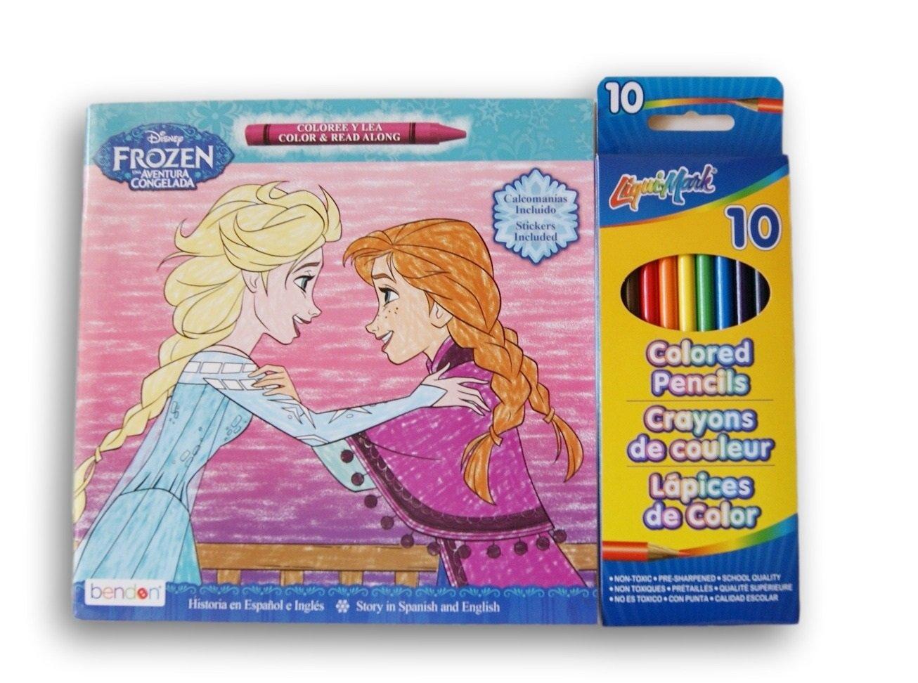 Disney Anna and Elsa Bilingual Coloring Set Color-and-Read Book and Colored Pencils Bendon