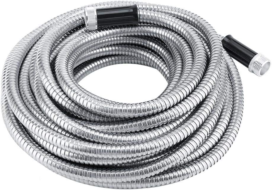Stainless Steel Metal Garden Hose, 50ft Long and Flexible Water Hose Garden Hose Non-Kink Durable Expandable Watering Car Washing Tube Gift
