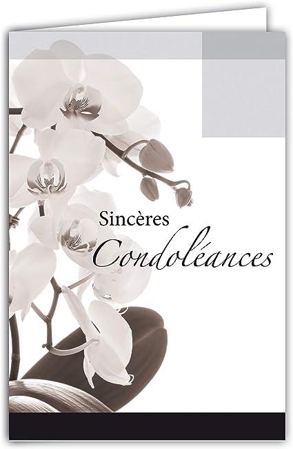Afie 64 1047 Carte Sinceres Condoleances Fleurs Orchidees Blanches Gris Noir Deuil Deces Amazon Fr Fournitures De Bureau