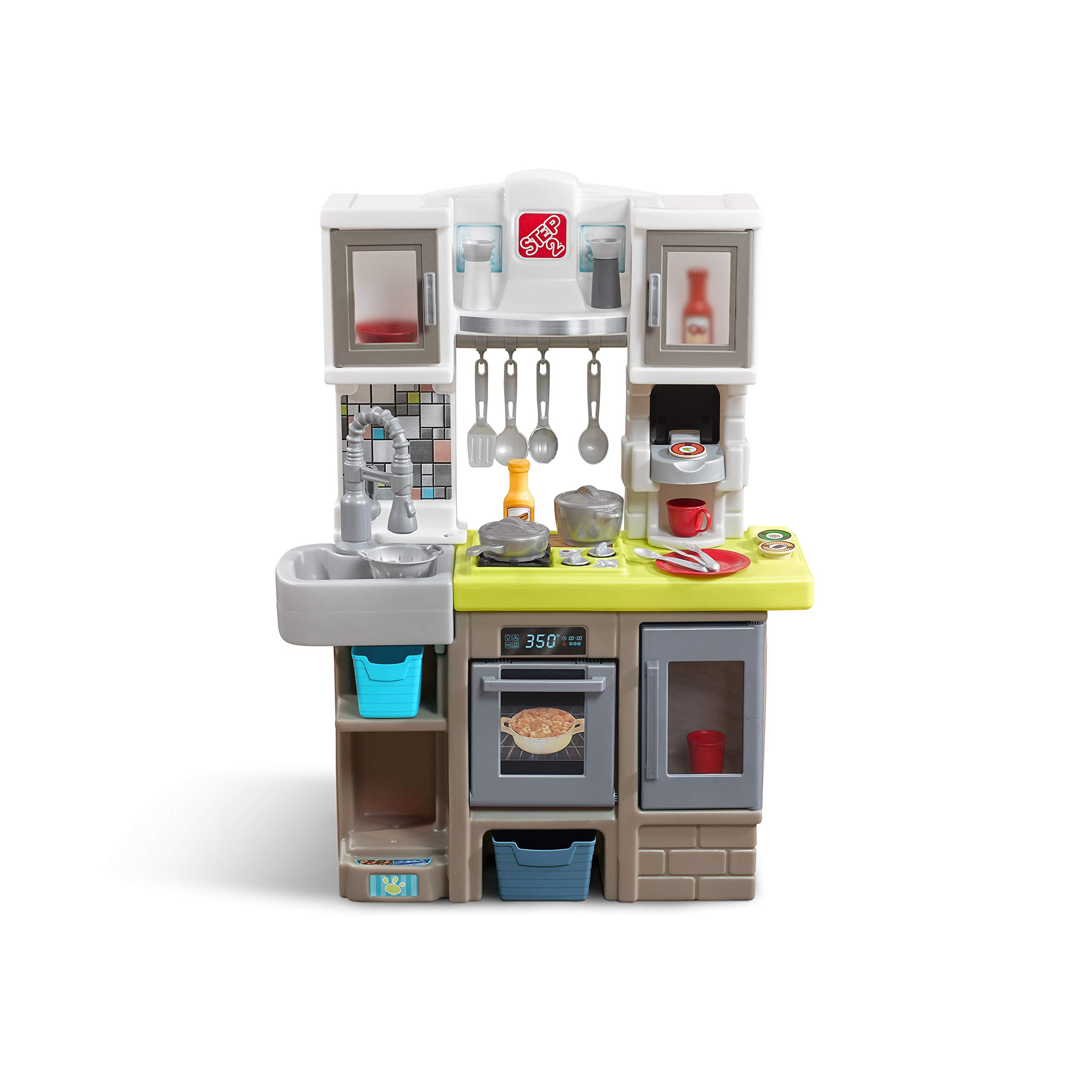 Step2 Contemporary Chef Kitchen | Colorful Plastic Play Kitchen | 25-pc Accessory Set Included