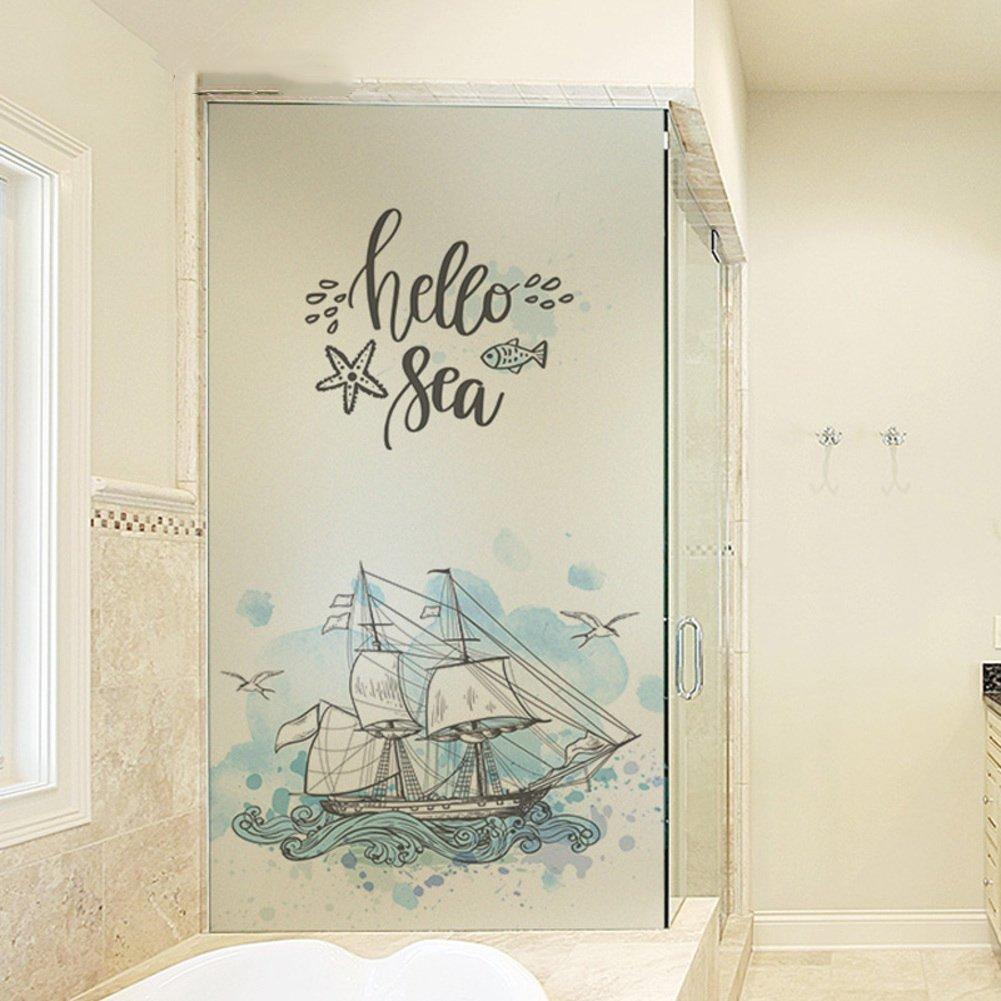 YQ WHJB No glue static film,Frosted privacy window film,Decorative Glass Pvc Bathroom Reusable Window decal Sticker-A 60x80cm(24x31inch)