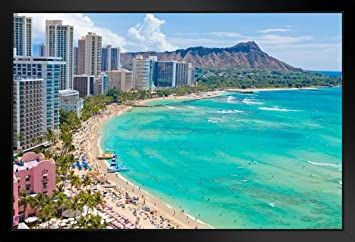 Waikiki Beach Honolulu Hawaii Photo Black Wood Framed Art Poster 14x20