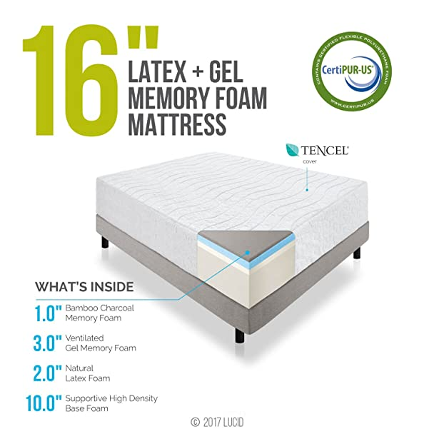 amazoncom lucid 16 inch plush memory foam and latex mattress fourlayer infused with bamboo charcoal natural latex and certipurus certified foam