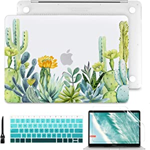 Batianda MacBook Air 13 Case 2020 2019 2018 A2179 A1932 (Touch ID & Retina) Plastic Hard Shell Cover with Match Color Keyboard Skin and Screen Protector and Cleaning Brush,Succulent Plants & Cactus