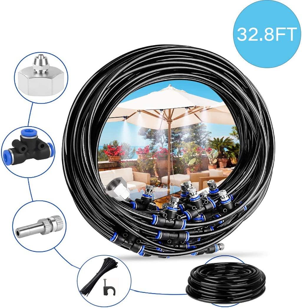 Misting Cooling System Misting Cooling System Water Irrigation 32.8FT 10M with 11 Copper Metal Mist Nozzles and a Connector 3 4 for Trampoline Waterpark Patio Umbrella,Shade Sail Automatic Distrib