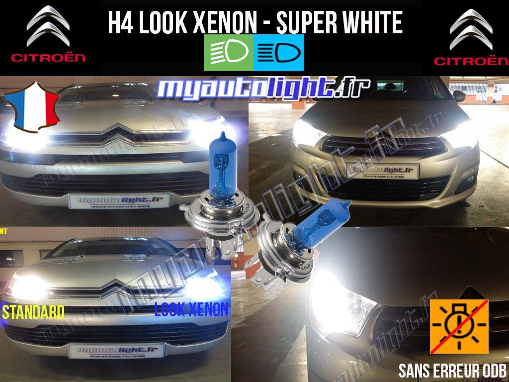 Pack ampoules H4 blanc xenon Citroen Xsara Picasso