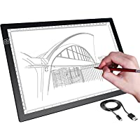 A4 LED Tracing Board,H HOME-MART Portable A4 Tracing LED Copy Board Light Box, USB Power Ultra-Thin Adjustable Artcraft…
