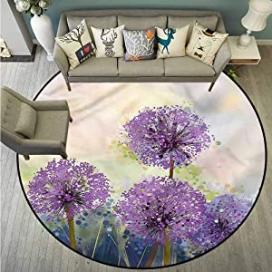 Non-Slip Round Rugs,Purple,Ornamental Onion Flowers,for Outdoor and Indoor,4'3""