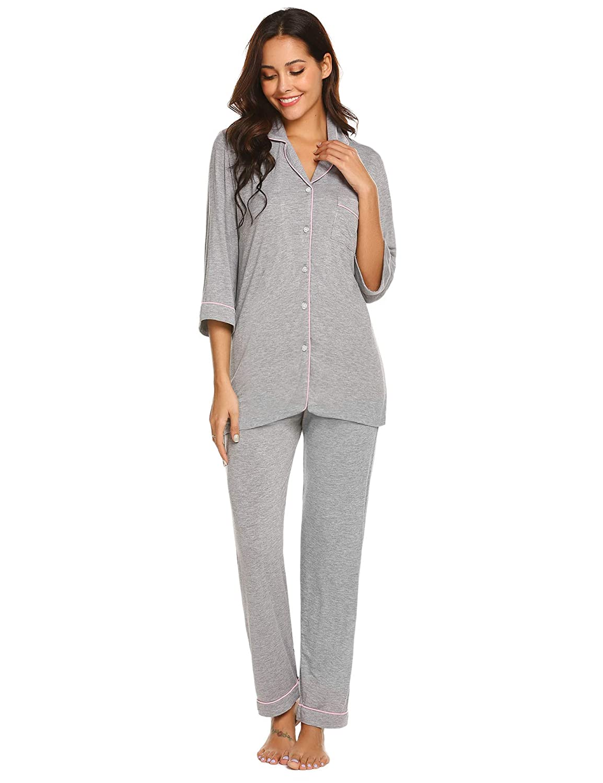 90bda6e46c Ekouaer Women's Pajamas Soft Cotton Sleepwear Casual Nightwear Loungewear Pj  Sets S-XXL at Amazon Women's Clothing store: