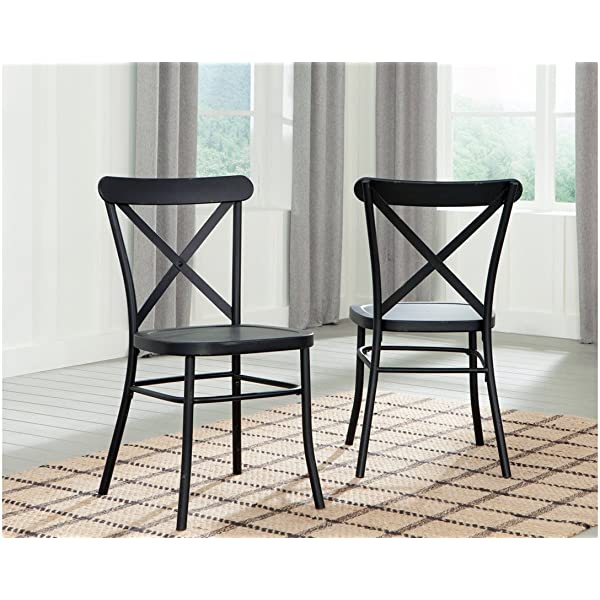 Ashley Furniture Signature Design - Minnona Dining Side Chair - Set of 2 - Cross Back - Vintage Casual Style - Antique Black Finished Metal