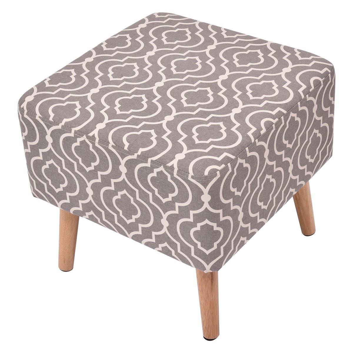 Polyester Cover Square Stool Seat Home Furniture Decor With 4 Wooden Solid Legs