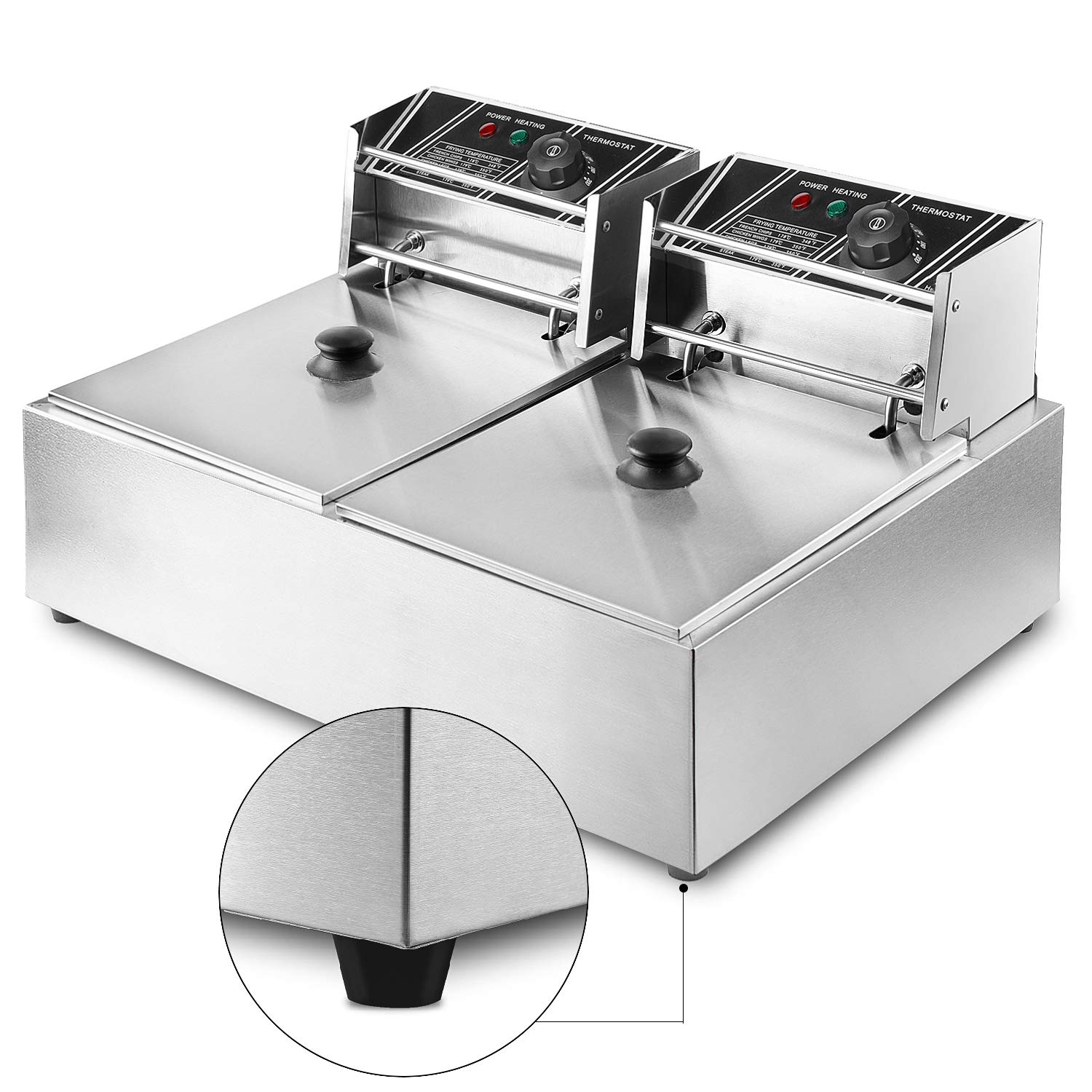 Flexzion Deep Fryer with Basket - Dual Tank 5000W 12 Liter Stainless Steel Electric Countertop Double Basket Scoop Fryer for Commercial Professional Restaurant Kitchen w/Adjustable Temperature by Flexzion (Image #3)