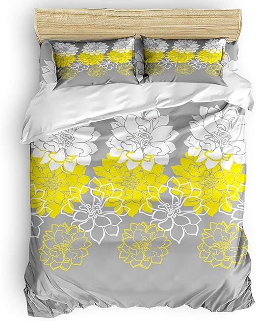 Yellow White Comfort Bedding Set Duvet Quilt Cover+Sheet+Pillow Case Four-Piece