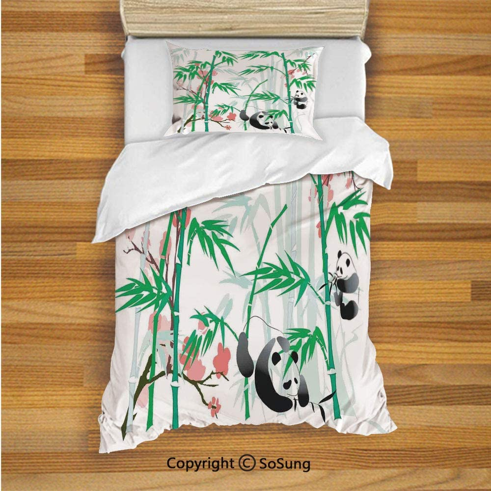 Bamboo Kids Duvet Cover Set Twin Size, Giant Woody Grass Bamboos and Panda Bear in Chinese Tropics Artsy Print 2 Piece Bedding Set with 1 Pillow Sham,Pink Green White Black 71GTCu6AraL