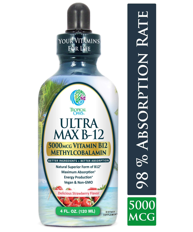 ULTRA MAX B12 | Max Potency 5000mcg Vitamin B12 Sublingual Liquid Drops | Methyl B12 (Methylcobalamin) | Max 98% Absorption Rate | Increase Energy & Metabolism*| Vegan, Non-GMO, Strawberry flavor -4oz