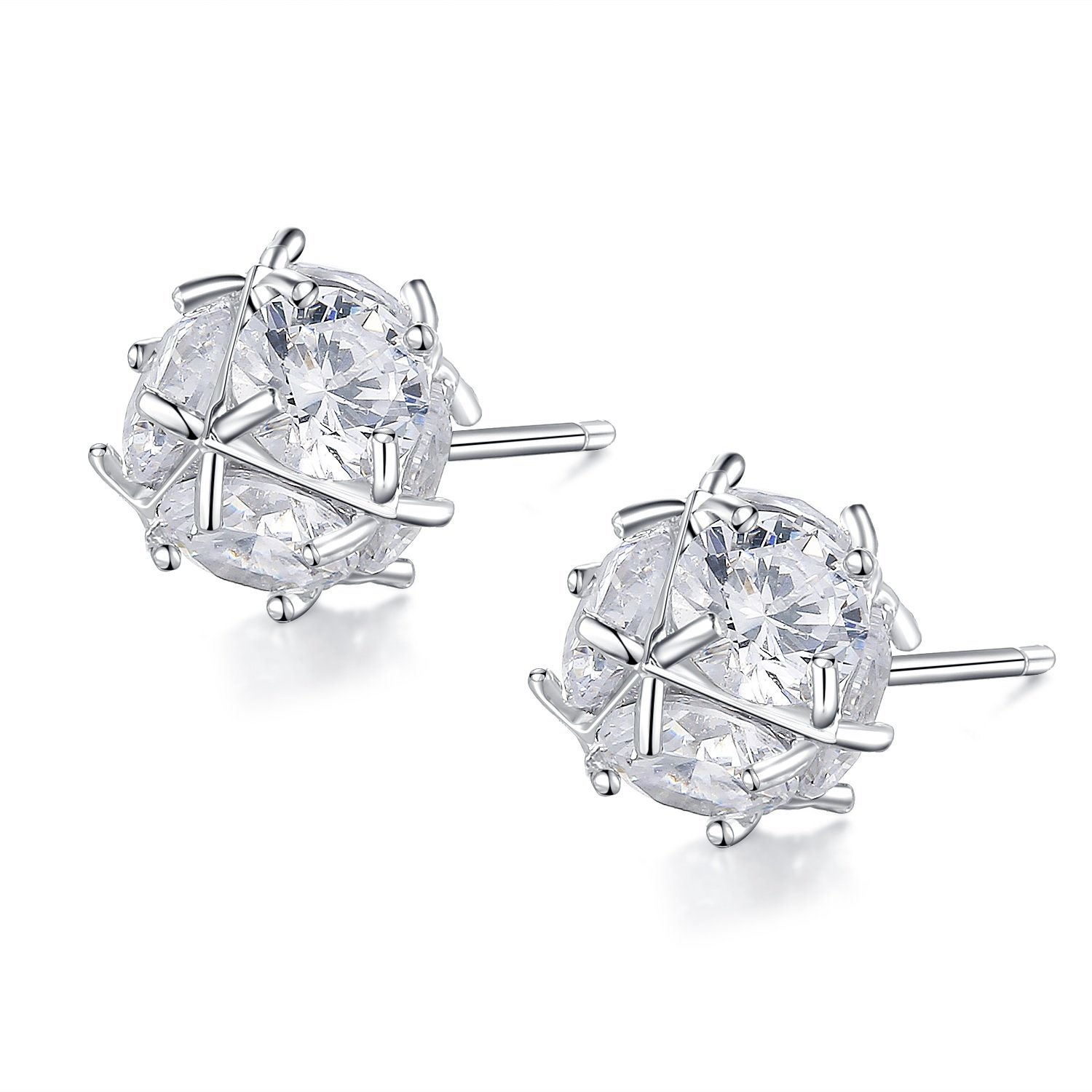 Arieanna Sterling Silver Unisex Zirconia Crystal Cubic Stud Earrings 8mm Two Pairs