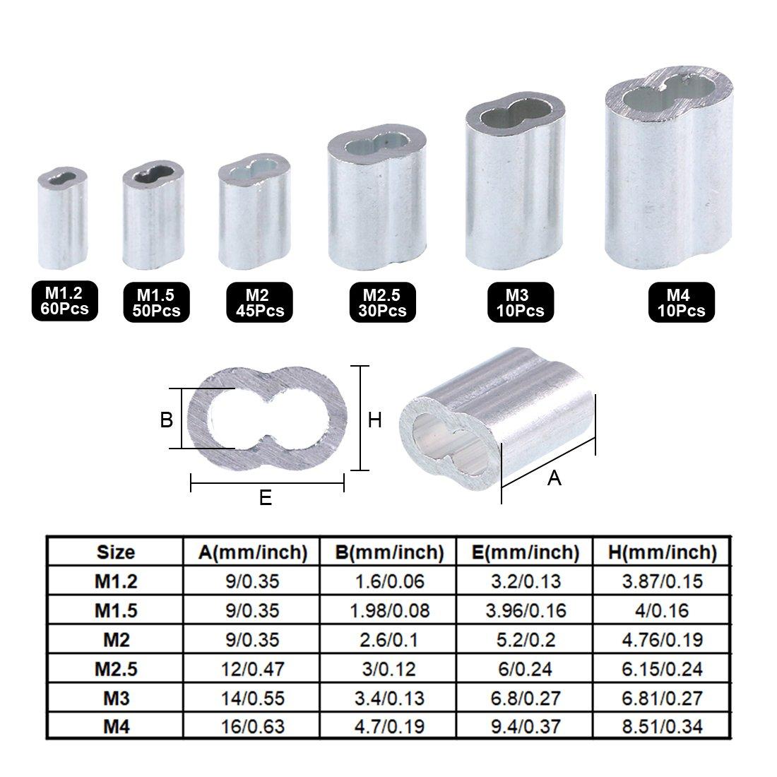 50pcs M1,5 Manchons En Aluminium Ovale Colliers Pour Câble Acier Stianless