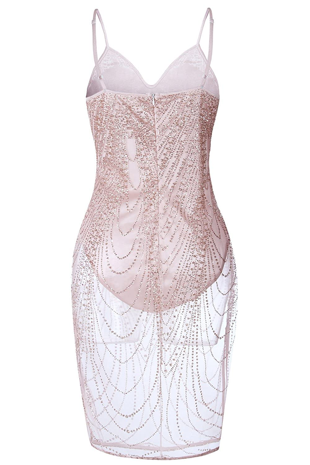 Suvotimo Women Spaghetti Straps Sheer Sequins Clubwear Party Bodycon Dress